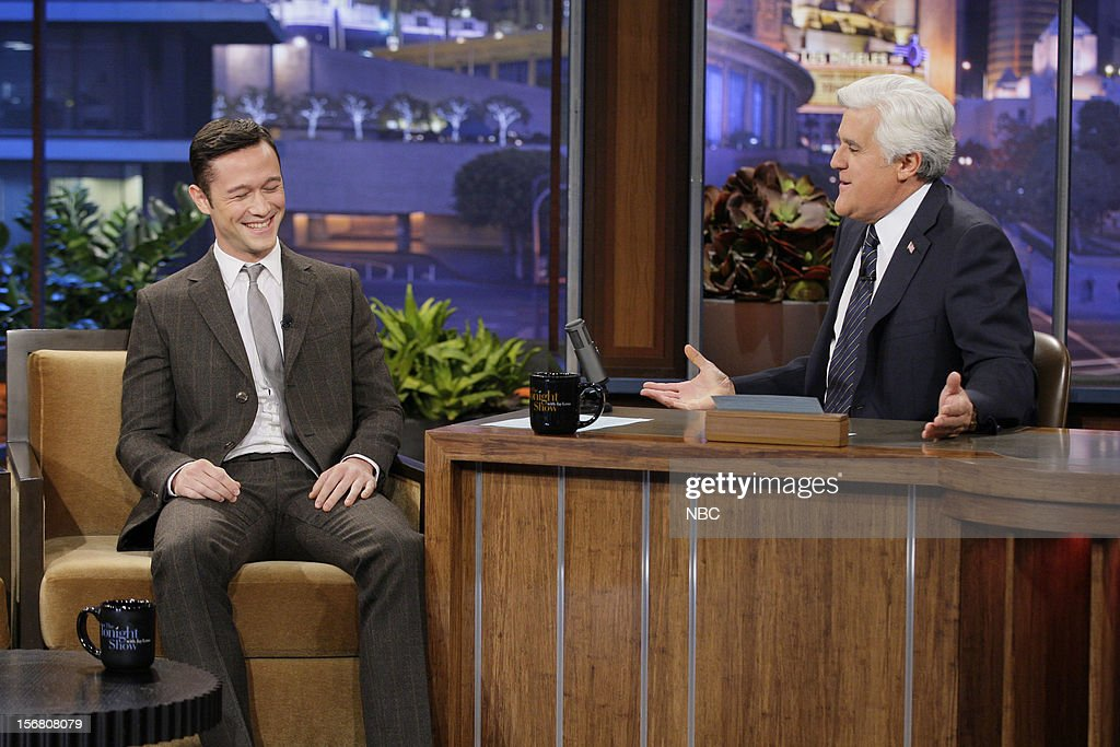 Actor <a gi-track='captionPersonalityLinkClicked' href=/galleries/search?phrase=Joseph+Gordon-Levitt&family=editorial&specificpeople=213632 ng-click='$event.stopPropagation()'>Joseph Gordon-Levitt</a> during an interview with host <a gi-track='captionPersonalityLinkClicked' href=/galleries/search?phrase=Jay+Leno+-+Television+Host&family=editorial&specificpeople=156431 ng-click='$event.stopPropagation()'>Jay Leno</a> on November 20, 2012 --