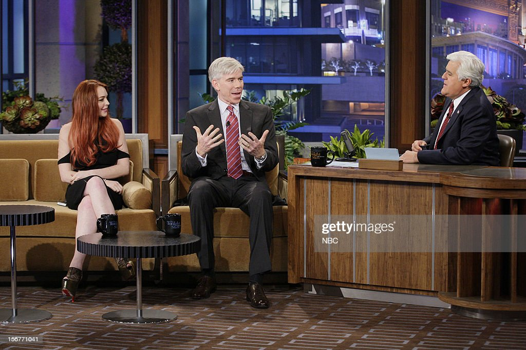Actress Lindsay Lohan, David Gregory during an interview with host Jay Leno on November 20, 2012 --