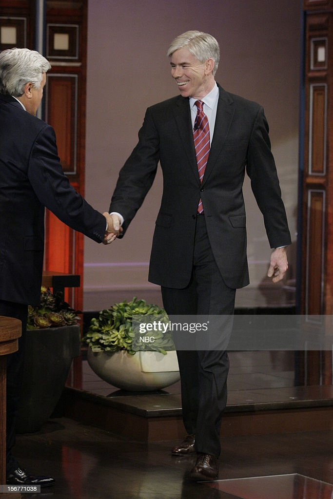 Host Jay Leno greets David Gregory on November 20, 2012 --