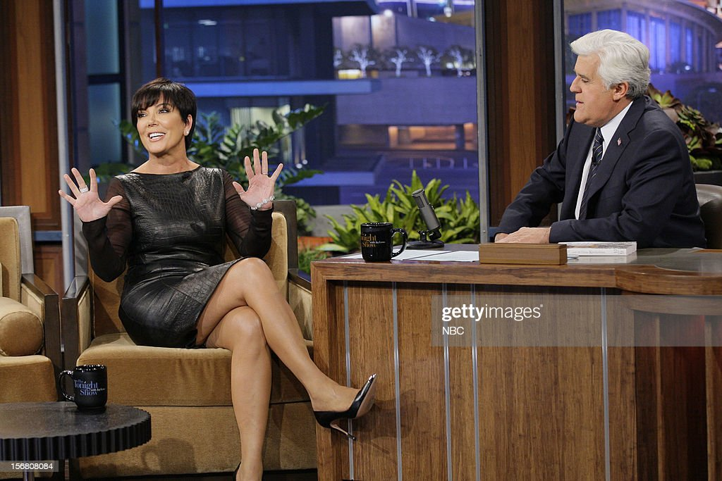 <a gi-track='captionPersonalityLinkClicked' href=/galleries/search?phrase=Kris+Jenner&family=editorial&specificpeople=762610 ng-click='$event.stopPropagation()'>Kris Jenner</a> during an interview with host <a gi-track='captionPersonalityLinkClicked' href=/galleries/search?phrase=Jay+Leno+-+Fernsehmoderator&family=editorial&specificpeople=156431 ng-click='$event.stopPropagation()'>Jay Leno</a> on November 20, 2012 --