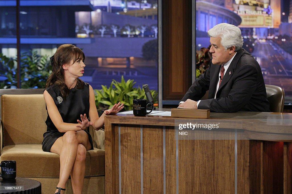 Comedian Natasha Leggero during an interview with host Jay Leno on November 22, 2012 --