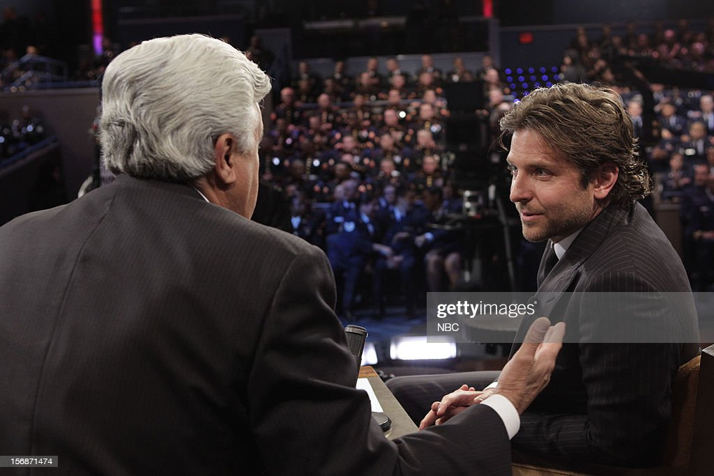LENO -- (EXCLUSIVE COVERAGE) -- Episode 4358 -- Pictured: (l-r) Host Jay Leno talks with <a gi-track='captionPersonalityLinkClicked' href=/galleries/search?phrase=Bradley+Cooper&family=editorial&specificpeople=680224 ng-click='$event.stopPropagation()'>Bradley Cooper</a> during a commercial break on November 22, 2012 --