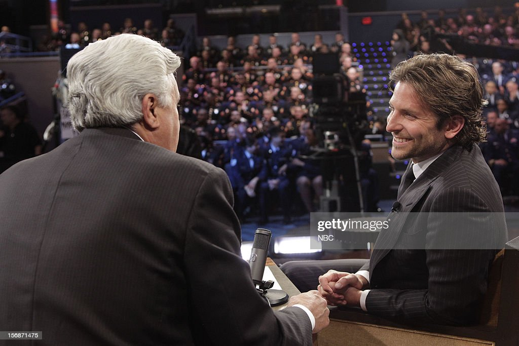 LENO -- (EXCLUSIVE COVERAGE) -- Episode 4358 -- Pictured: (l-r) Host Jay Leno talks with Bradley Cooper during a commercial break on November 22, 2012 --