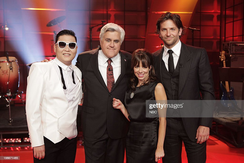 Psy. host <a gi-track='captionPersonalityLinkClicked' href=/galleries/search?phrase=Jay+Leno+-+Television+Host&family=editorial&specificpeople=156431 ng-click='$event.stopPropagation()'>Jay Leno</a>, comedian Natasha Leggero, actor <a gi-track='captionPersonalityLinkClicked' href=/galleries/search?phrase=Bradley+Cooper&family=editorial&specificpeople=680224 ng-click='$event.stopPropagation()'>Bradley Cooper</a> on November 22, 2012 --