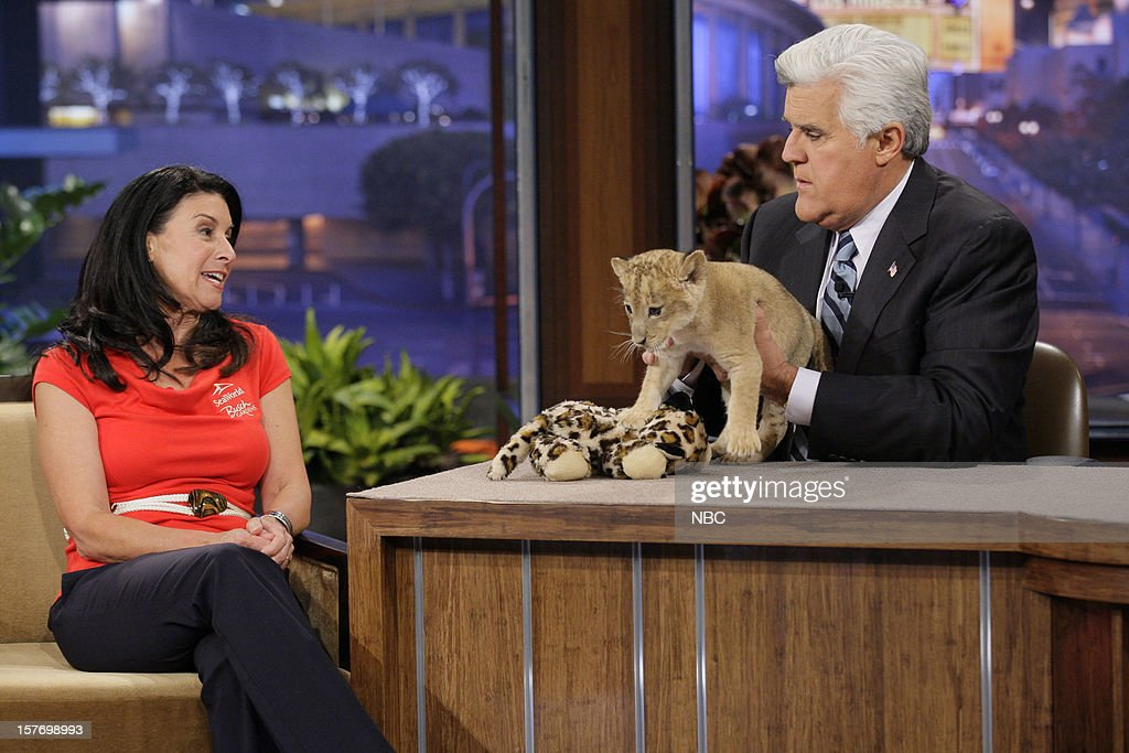 Animal Expert Julia Scardina and a baby lion during an interview with host <a gi-track='captionPersonalityLinkClicked' href=/galleries/search?phrase=Jay+Leno+-+Television+Host&family=editorial&specificpeople=156431 ng-click='$event.stopPropagation()'>Jay Leno</a> on December 5, 2012 --