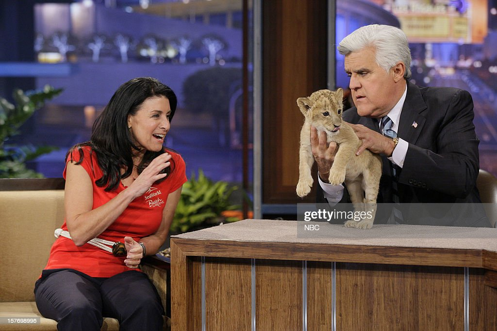 Animal Expert Julia Scardina and a baby lion during an interview with host <a gi-track='captionPersonalityLinkClicked' href=/galleries/search?phrase=Jay+Leno&family=editorial&specificpeople=156431 ng-click='$event.stopPropagation()'>Jay Leno</a> on December 5, 2012 --