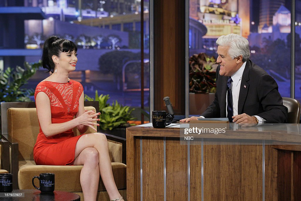 Actress <a gi-track='captionPersonalityLinkClicked' href=/galleries/search?phrase=Krysten+Ritter&family=editorial&specificpeople=655673 ng-click='$event.stopPropagation()'>Krysten Ritter</a> during an interview with host <a gi-track='captionPersonalityLinkClicked' href=/galleries/search?phrase=Jay+Leno+-+Television+Host&family=editorial&specificpeople=156431 ng-click='$event.stopPropagation()'>Jay Leno</a> on December 6, 2012 --