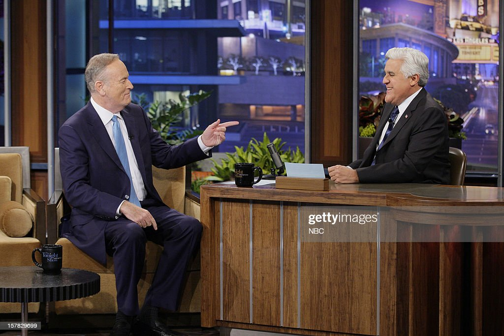 News journalist Bill O'Reilly during an interview with host <a gi-track='captionPersonalityLinkClicked' href=/galleries/search?phrase=Jay+Leno+-+Television+Host&family=editorial&specificpeople=156431 ng-click='$event.stopPropagation()'>Jay Leno</a> on December 6, 2012 --