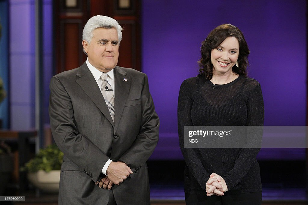 Host Jay Leno, comedian Kira Saltanovich during a segment on December 7, 2012 --