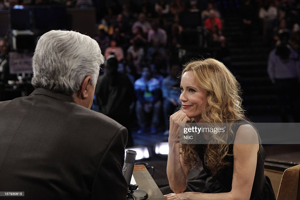 LENO -- (EXCLUSIVE COVERAGE) Episode 4368 -- Pictured: (l-r) Host Jay Leno talks with Actress <a gi-track='captionPersonalityLinkClicked' href=/galleries/search?phrase=Leslie+Mann&family=editorial&specificpeople=595973 ng-click='$event.stopPropagation()'>Leslie Mann</a> during a commercial break on December 7, 2012 --