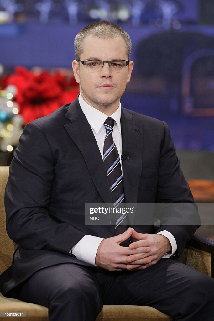 Actor <a gi-track='captionPersonalityLinkClicked' href=/galleries/search?phrase=Matt+Damon&family=editorial&specificpeople=202093 ng-click='$event.stopPropagation()'>Matt Damon</a> during an interview on December 10, 2012 --