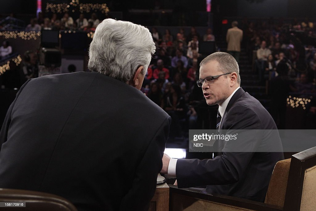 LENO -- (EXCLUSIVE COVERAGE) --Episode 4369 -- Pictured: (l-r) Host Jay Leno talks with actor <a gi-track='captionPersonalityLinkClicked' href=/galleries/search?phrase=Matt+Damon&family=editorial&specificpeople=202093 ng-click='$event.stopPropagation()'>Matt Damon</a> during a commercial break on December 10, 2012 --