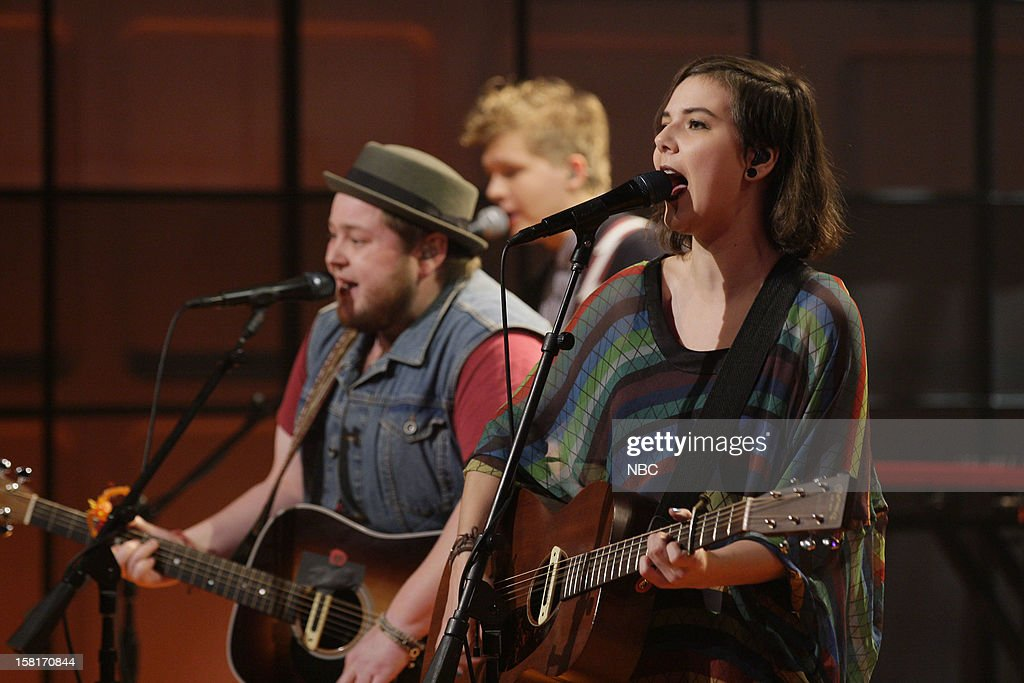 Ragnar Porhallsson, Nanna Bryndis Hilmarsdottir of musical guests Of Monsters and Men performs on December 10, 2012 --