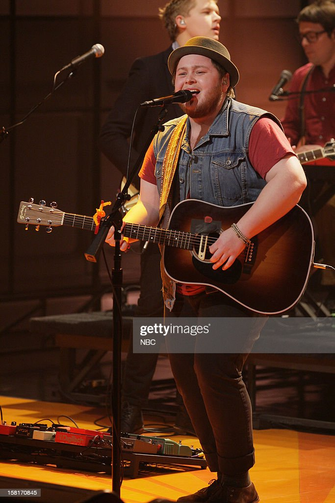 Ragnar Porhallsson of musical guests Of Monsters and Men performs on December 10, 2012 --