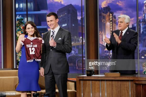 Actress Megan Fox Heisman trophy winner Johnny Manziel during an interview with host Jay Leno on December 17 2012