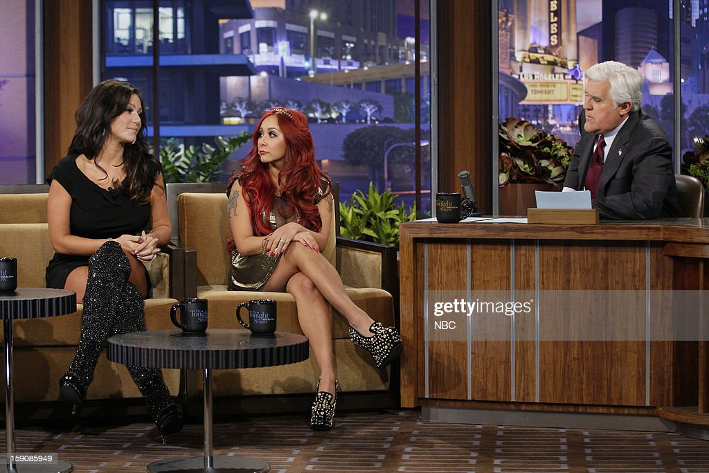 Jwoww & Snooki of the Jersey Shore during an interview with host Jay Leno on January 7, 2013 --