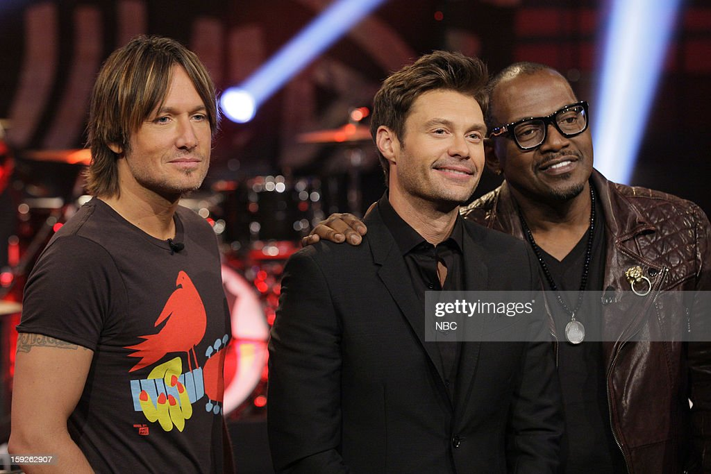 Keith Urban, Ryan Seacrest and Randy Jackson of American Idol on January 10, 2013 --