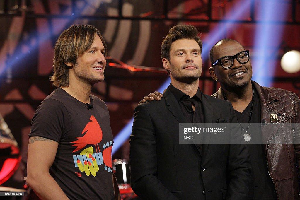 Keith Urban, Ryan Seacrest and Randy Jackson of American Idol on January 10, 2013 --