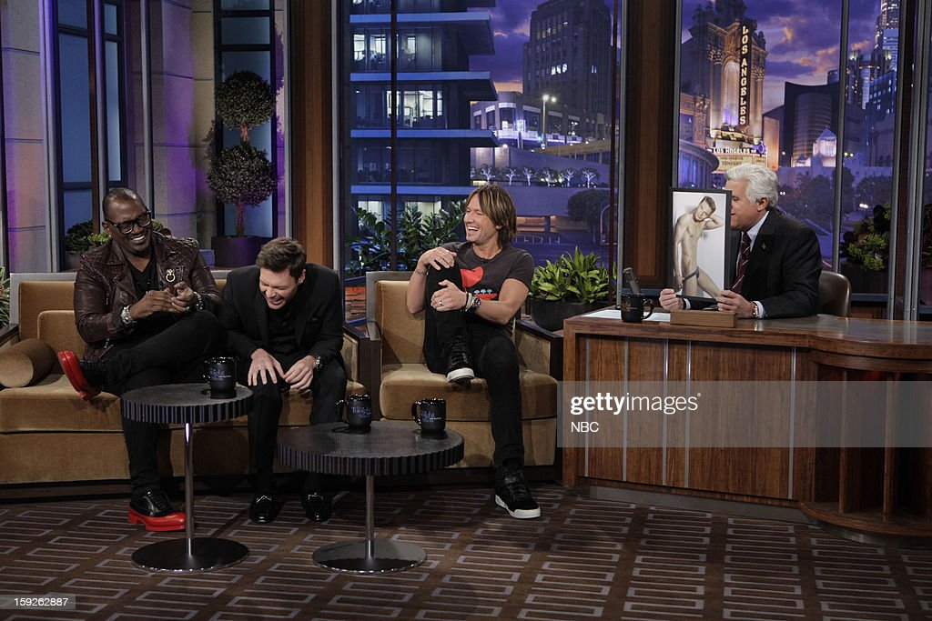 Randy Jackson, Ryan Seacrest, Keith Urban of American Idol during an interview with host Jay Leno on January 10, 2013 --