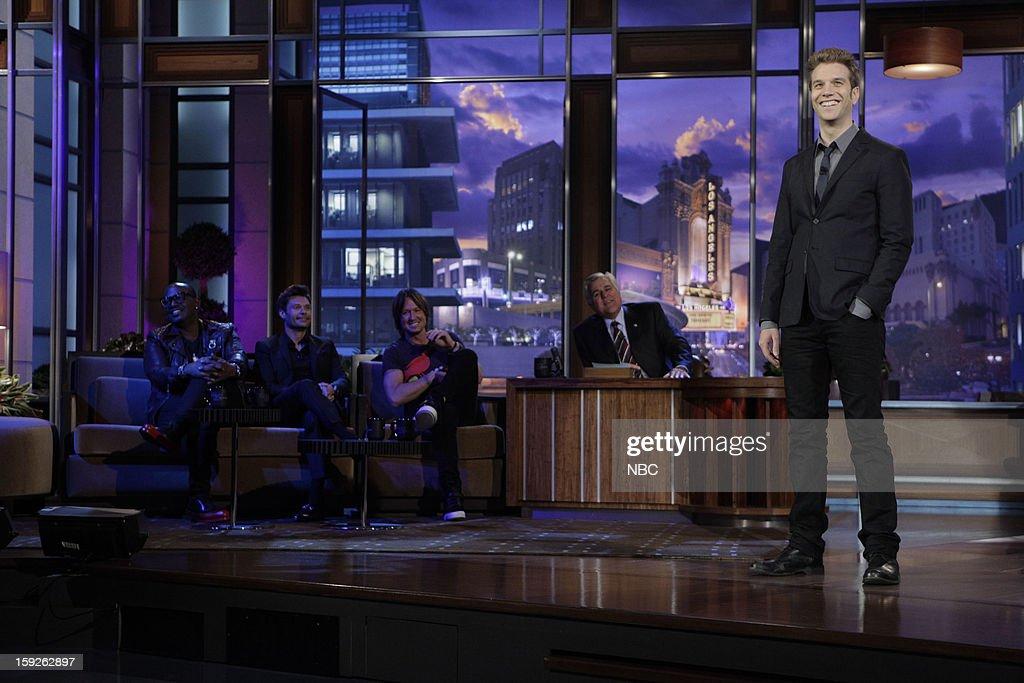 Randy Jackson, Ryan Seacrest, Keith Urban of American Idol and host Jay Leno watch comedian Anthony Jeselnik perform on January 10, 2013 --