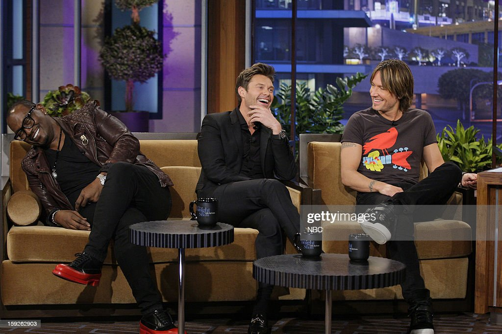 Randy Jackson, Ryan Seacrest, Keith Urban of American Idol during an interview on January 10, 2013 --