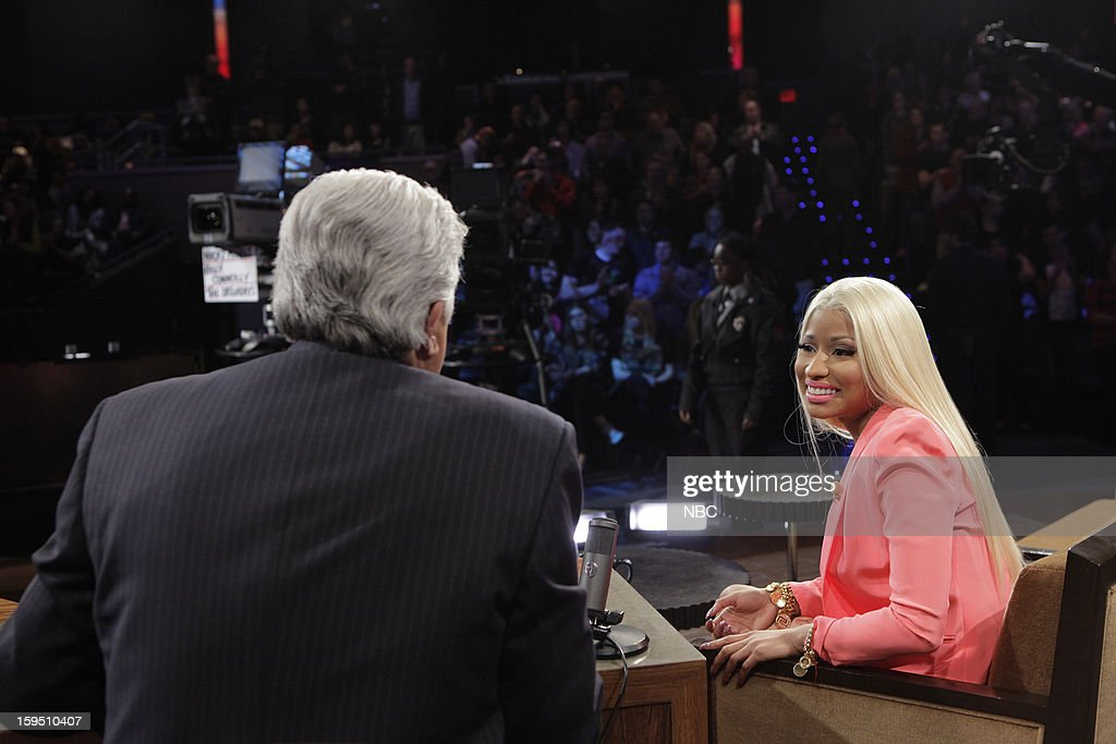 LENO -- (EXCLUSIVE COVERAGE) Episode 4387 -- Pictured: (l-r) Host Jay Leno talks with singer <a gi-track='captionPersonalityLinkClicked' href=/galleries/search?phrase=Nicki+Minaj+-+Performer&family=editorial&specificpeople=6362705 ng-click='$event.stopPropagation()'>Nicki Minaj</a> during a commercial break on January 14, 2013 --
