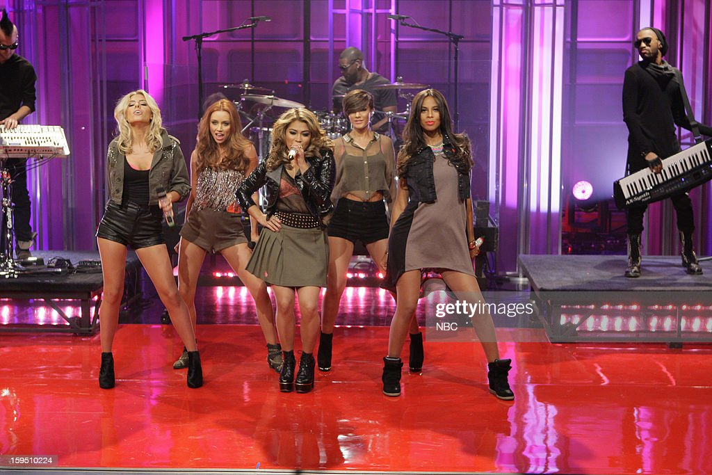 Musical guests The Saturdays (l-r) <a gi-track='captionPersonalityLinkClicked' href=/galleries/search?phrase=Mollie+King&family=editorial&specificpeople=5522262 ng-click='$event.stopPropagation()'>Mollie King</a>, <a gi-track='captionPersonalityLinkClicked' href=/galleries/search?phrase=Una+Healy&family=editorial&specificpeople=5523039 ng-click='$event.stopPropagation()'>Una Healy</a>, <a gi-track='captionPersonalityLinkClicked' href=/galleries/search?phrase=Vanessa+White&family=editorial&specificpeople=5523036 ng-click='$event.stopPropagation()'>Vanessa White</a>, Frankie Sandford, Rochelle Humes perform on January 14, 2013 --