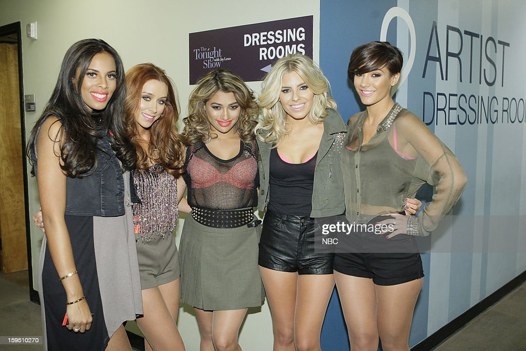 LENO -- (EXCLUSIVE COVERAGE) Episode 4387 -- Pictured: Musical guests The Saturdays (l-r) Rochelle Humes, <a gi-track='captionPersonalityLinkClicked' href=/galleries/search?phrase=Una+Healy&family=editorial&specificpeople=5523039 ng-click='$event.stopPropagation()'>Una Healy</a>, <a gi-track='captionPersonalityLinkClicked' href=/galleries/search?phrase=Vanessa+White&family=editorial&specificpeople=5523036 ng-click='$event.stopPropagation()'>Vanessa White</a>, <a gi-track='captionPersonalityLinkClicked' href=/galleries/search?phrase=Mollie+King&family=editorial&specificpeople=5522262 ng-click='$event.stopPropagation()'>Mollie King</a>, Frankie Sandford backstage on January 14, 2013 --
