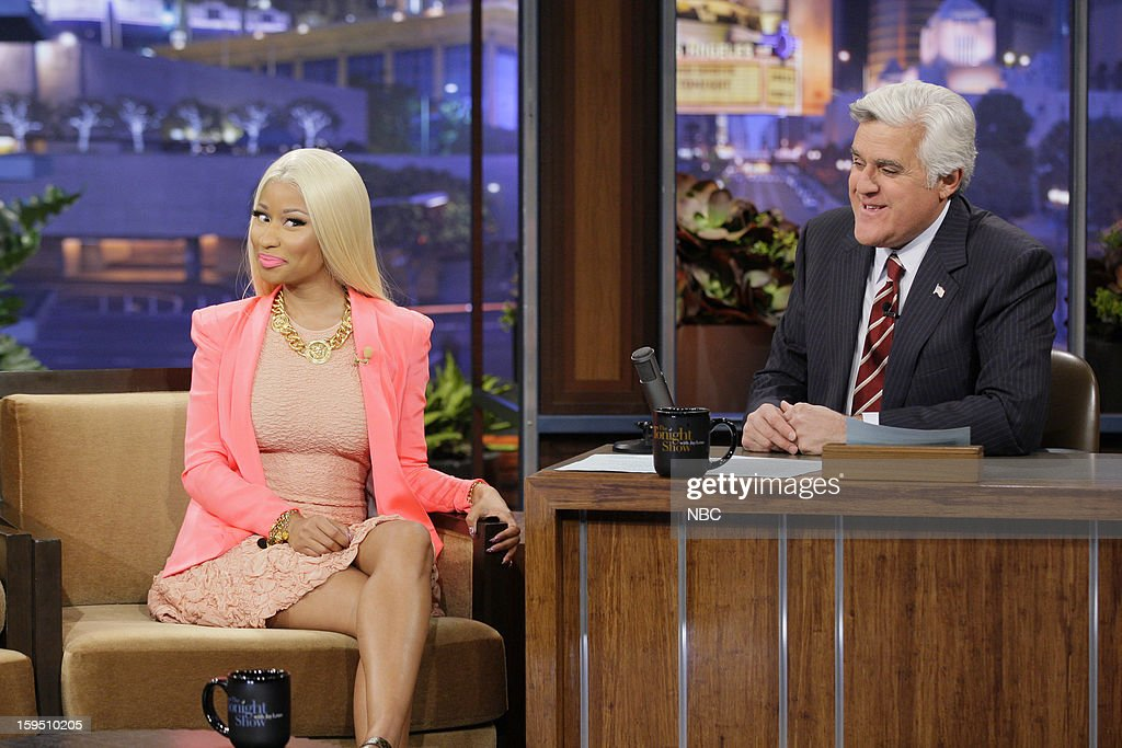 Singer <a gi-track='captionPersonalityLinkClicked' href=/galleries/search?phrase=Nicki+Minaj+-+Performer&family=editorial&specificpeople=6362705 ng-click='$event.stopPropagation()'>Nicki Minaj</a> during an interview with host <a gi-track='captionPersonalityLinkClicked' href=/galleries/search?phrase=Jay+Leno+-+Television+Host&family=editorial&specificpeople=156431 ng-click='$event.stopPropagation()'>Jay Leno</a> on January 14, 2013 --
