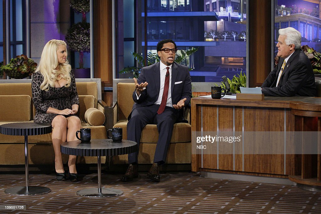 Actress Jessica Simpson, comedian D.L. Hughley during an interview with host Jay Leno on January 15, 2013 --