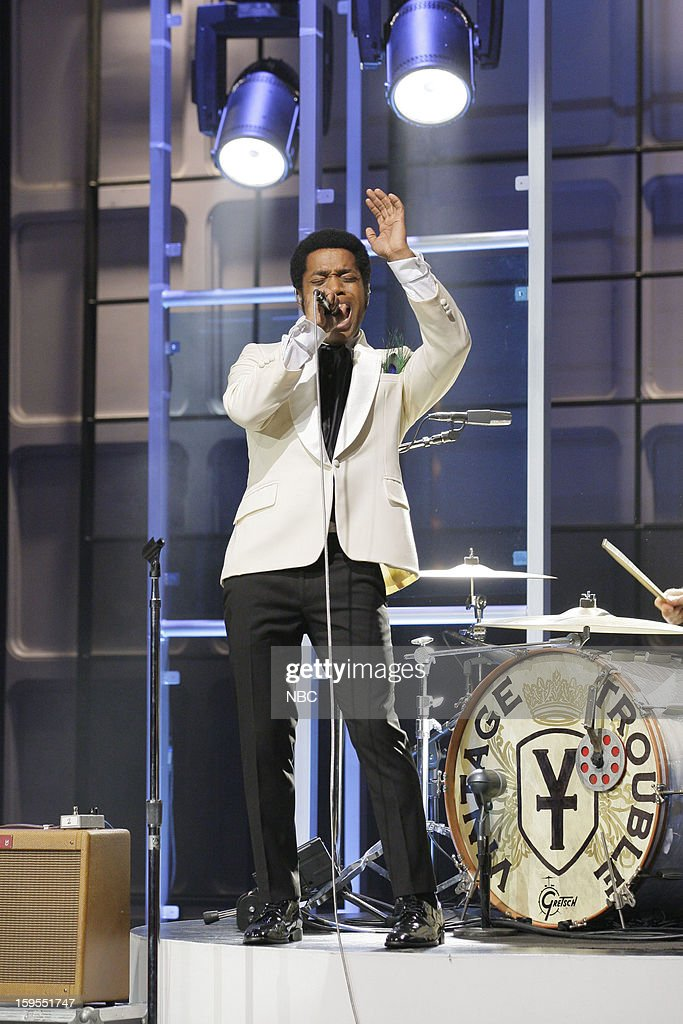 Ty Taylor of musical guest Vintage Trouble performs on January 15, 2013 --