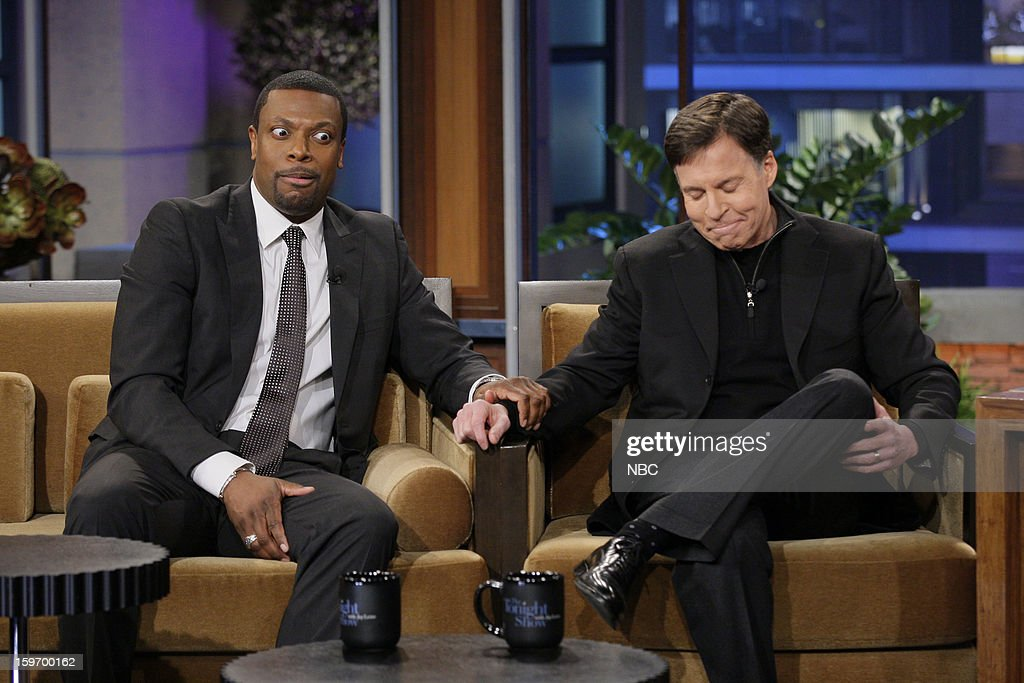 Comedian Chris Tucker and Bob Costas during an interview with host Jay Leno on January 18, 2013 --