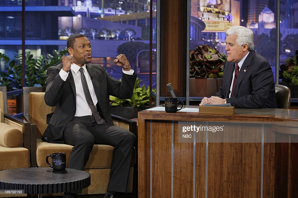 Comedian Chris Tucker during an interview with host Jay Leno on January 18, 2013 --