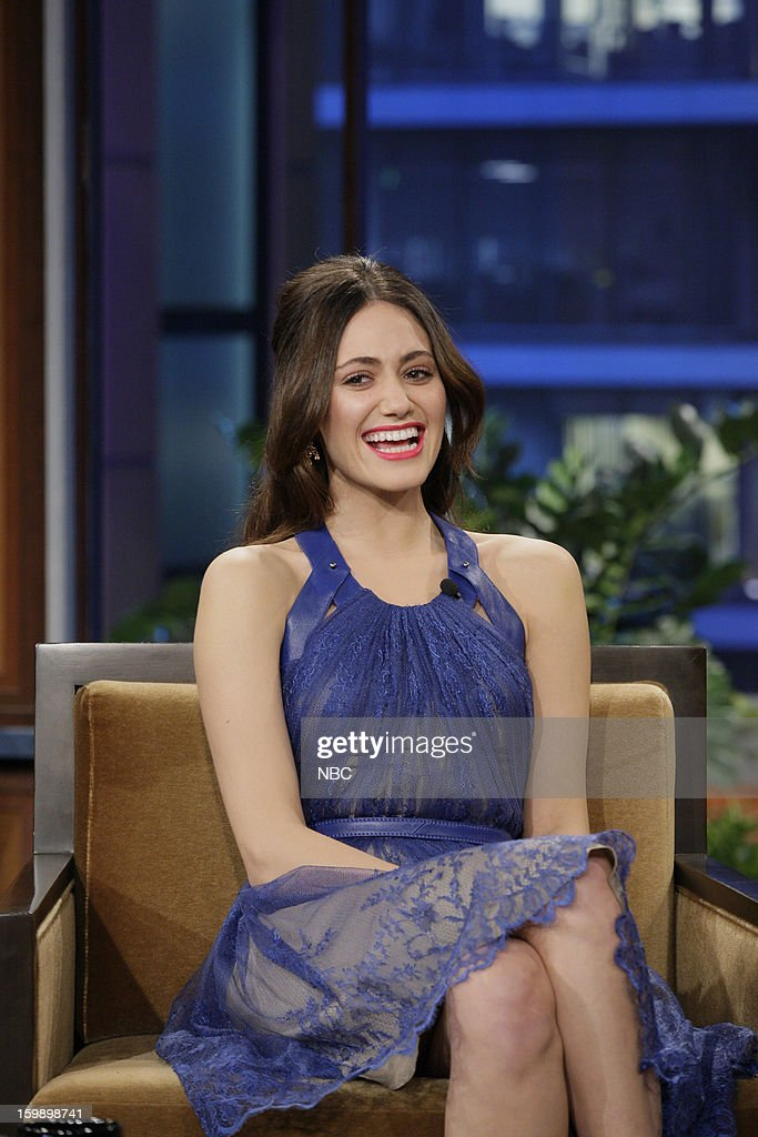 Actress <a gi-track='captionPersonalityLinkClicked' href=/galleries/search?phrase=Emmy+Rossum&family=editorial&specificpeople=202563 ng-click='$event.stopPropagation()'>Emmy Rossum</a> during an interview on January 22, 2013 --