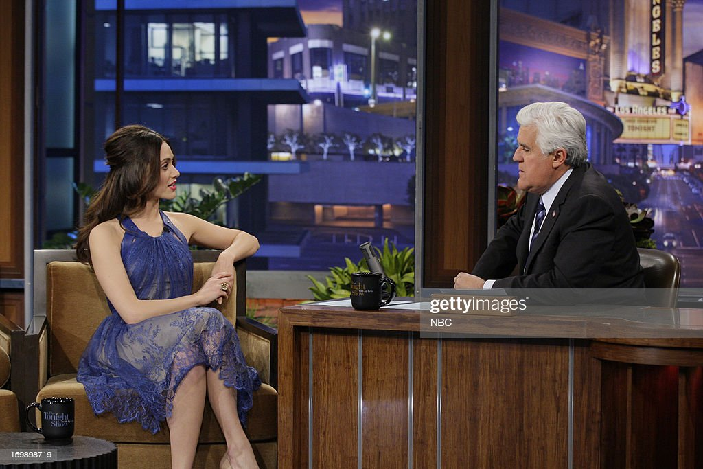 Actress Emmy Rossum during an interview with host Jay Leno on January 22, 2013 --