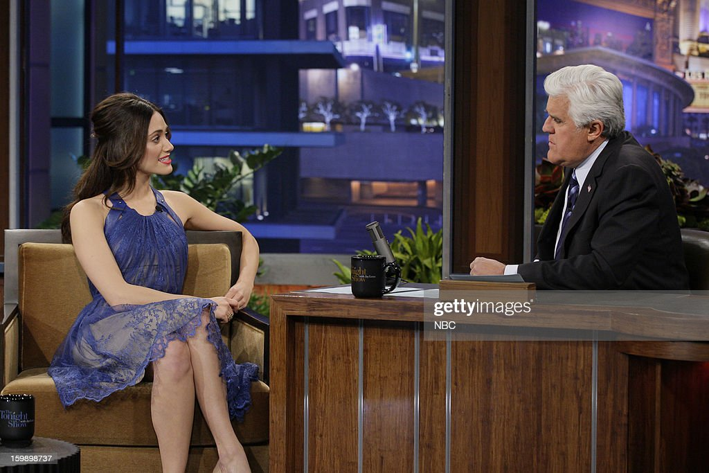 Actress <a gi-track='captionPersonalityLinkClicked' href=/galleries/search?phrase=Emmy+Rossum&family=editorial&specificpeople=202563 ng-click='$event.stopPropagation()'>Emmy Rossum</a> during an interview with host <a gi-track='captionPersonalityLinkClicked' href=/galleries/search?phrase=Jay+Leno+-+Television+Host&family=editorial&specificpeople=156431 ng-click='$event.stopPropagation()'>Jay Leno</a> on January 22, 2013 --