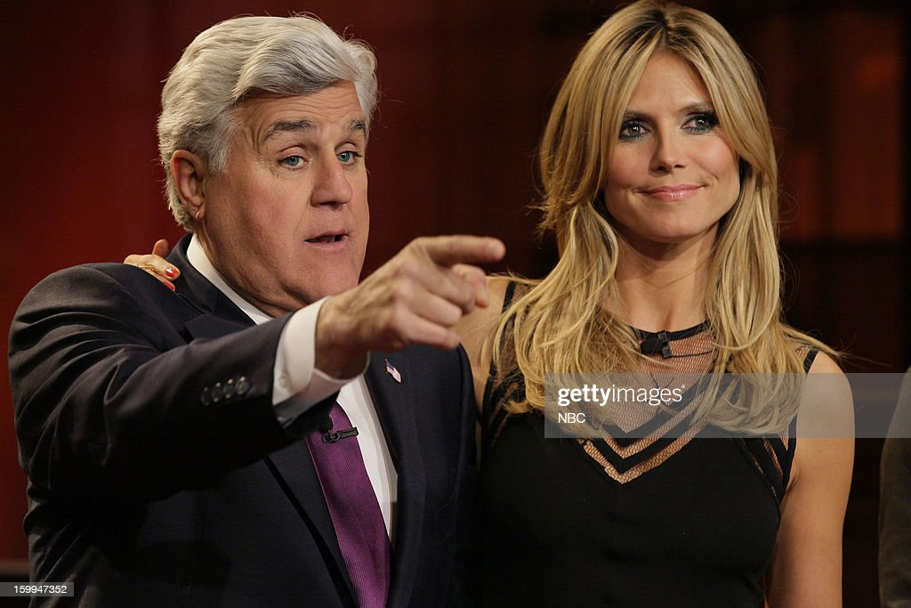 Host Jay Leno and <a gi-track='captionPersonalityLinkClicked' href=/galleries/search?phrase=Heidi+Klum&family=editorial&specificpeople=178954 ng-click='$event.stopPropagation()'>Heidi Klum</a> on January 23, 2013 --