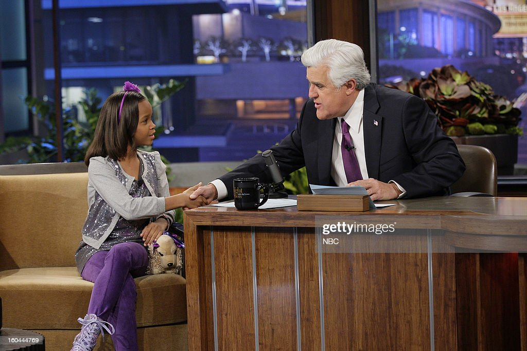 Actress Quvenzhane Wallis during an interview with host Jay Leno on January 31, 2013 --