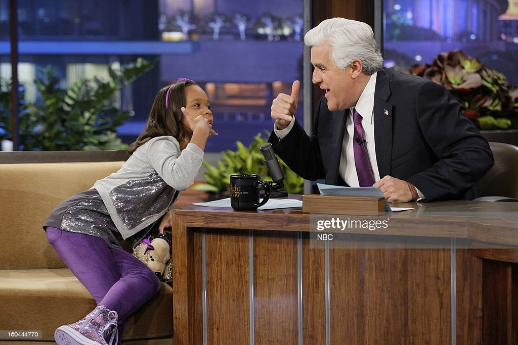 Actress Quvenzhane Wallis during an interview with host <a gi-track='captionPersonalityLinkClicked' href=/galleries/search?phrase=Jay+Leno+-+Television+Host&family=editorial&specificpeople=156431 ng-click='$event.stopPropagation()'>Jay Leno</a> on January 31, 2013 --