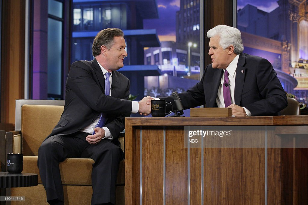 TV personality Piers Morgan during an interview with host Jay Leno on January 31, 2013 --