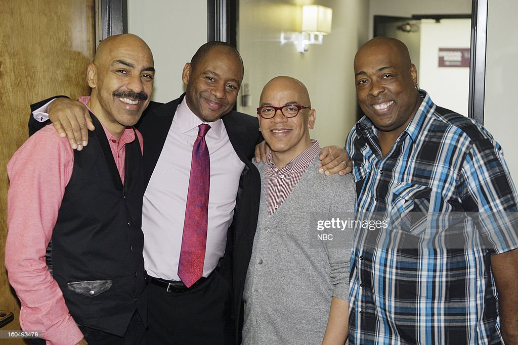 LENO -- (EXCLUSIVE COVERAGE) Episode 4400 -- Pictured: (l-r) Kevin Ricard, Musical guest Branford Marsalis, bandleader Rickey Minor, Wayne Linsey backstage on February 1, 2013 --