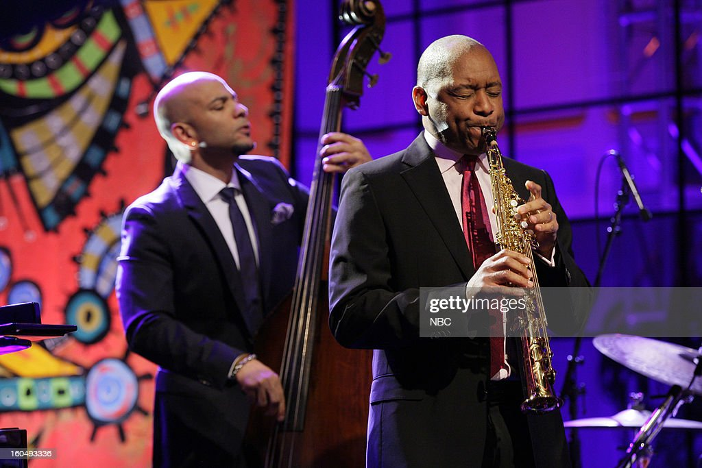 Musical guests Branford Marsalis Quartet (l-r) Eric Revis, Brnford Marsalis perform on February 1, 2013 --