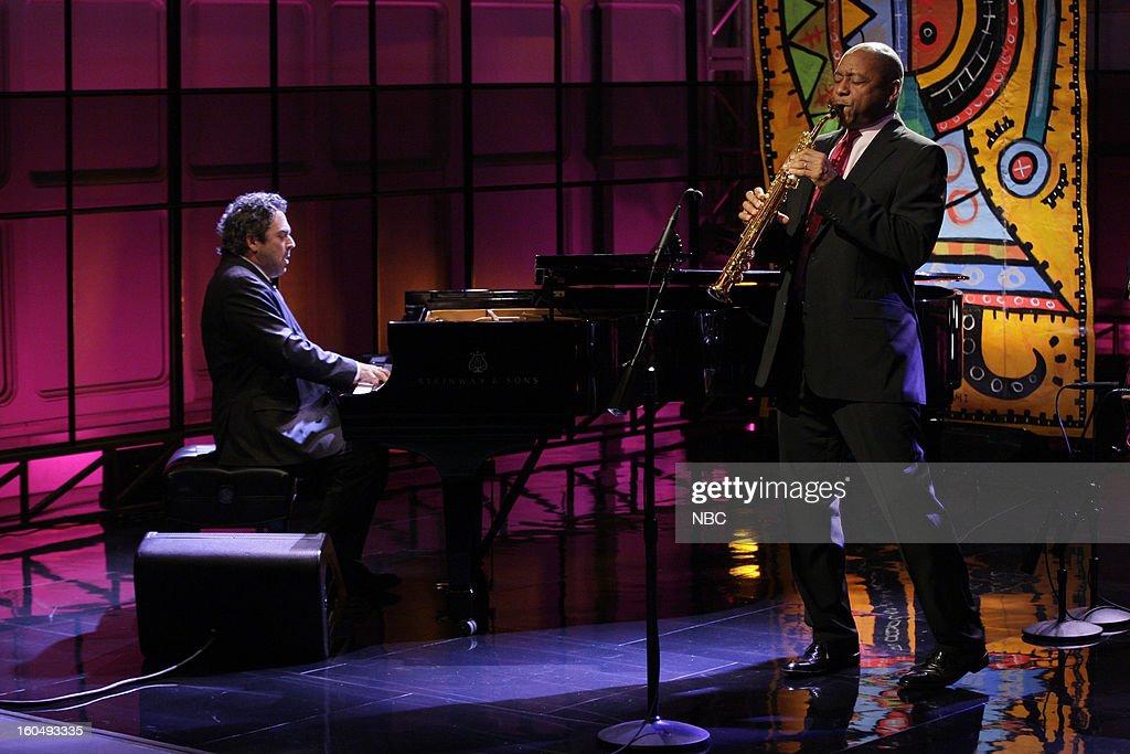 Musical guests Branford Marsalis Quartet (l-r) Joey Calderazzo, Branford Marsalis performBranford Marsalis on February 1, 2013 --