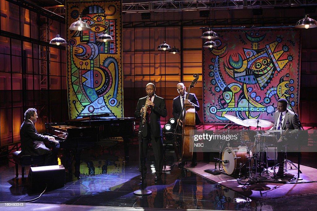 Musical guests Branford Marsalis Quartet (l-r) Joey Calderazzo, Branford Marsalis, Eric Revis, Justin Faulkner perform on February 1, 2013 --