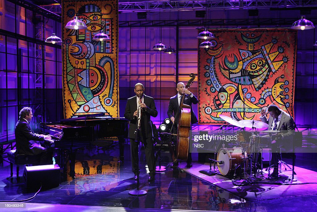 Musical guests Branford Marsalis Quartet (l-r) Joey Calderazzo, Branford Marsalis, Eric Revis, Justin Faulkner perform on February 1, 2013 --