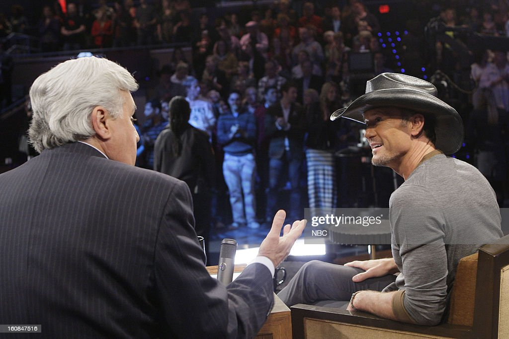 LENO -- (EXCLUSIVE COVERAGE) -- Episode 4403 -- Pictured: (l-r) Host Jay Leno talks with country singer <a gi-track='captionPersonalityLinkClicked' href=/galleries/search?phrase=Tim+McGraw&family=editorial&specificpeople=202845 ng-click='$event.stopPropagation()'>Tim McGraw</a> during a commercial break on February 6, 2013 --