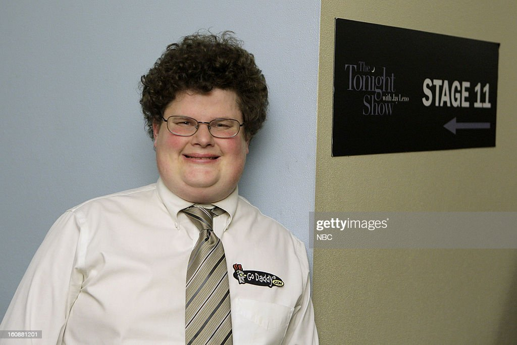 LENO -- (EXCLUSIVE COVERAGE) -- Episode 4403 -- Pictured: Jesse Heiman of the Go Daddy Super Bowl commercial backstage on February 6, 2013 --