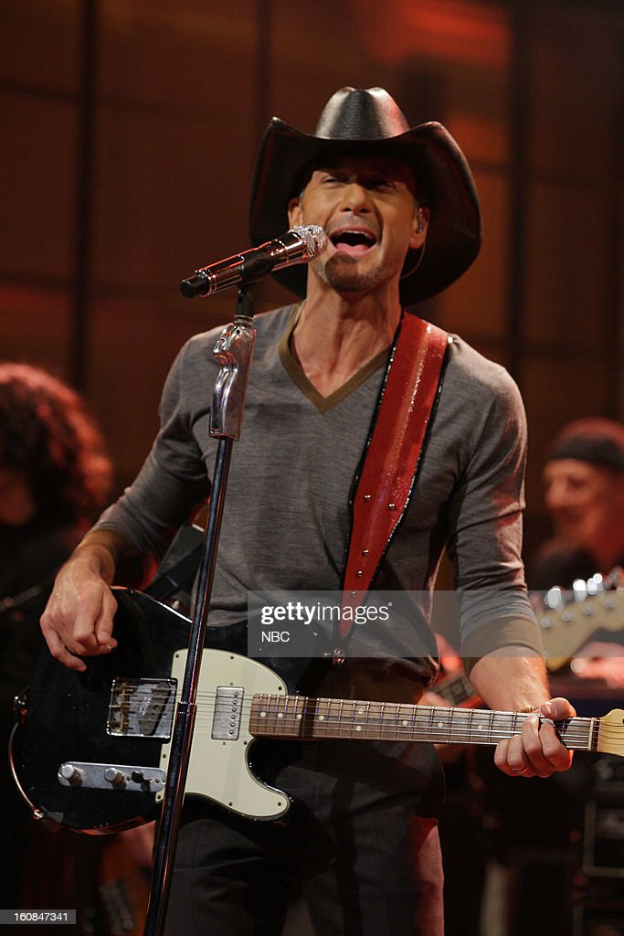Musical guest Tim McGraw performs on February 6, 2013 --