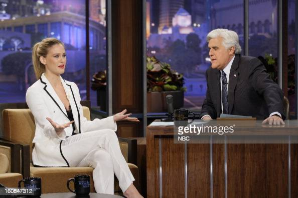 Supermodel Bar Refaeli during an interview with host Jay Leno on February 6 2013