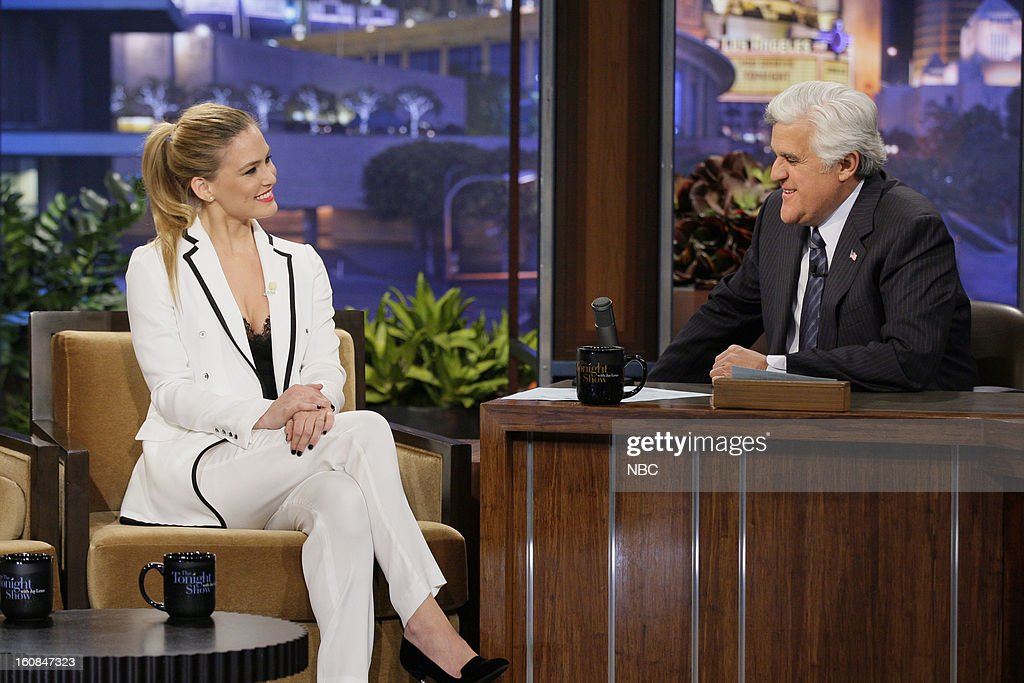 Supermodel <a gi-track='captionPersonalityLinkClicked' href=/galleries/search?phrase=Bar+Refaeli&family=editorial&specificpeople=468932 ng-click='$event.stopPropagation()'>Bar Refaeli</a> during an interview with host <a gi-track='captionPersonalityLinkClicked' href=/galleries/search?phrase=Jay+Leno+-+Fernsehmoderator&family=editorial&specificpeople=156431 ng-click='$event.stopPropagation()'>Jay Leno</a> on February 6, 2013 --